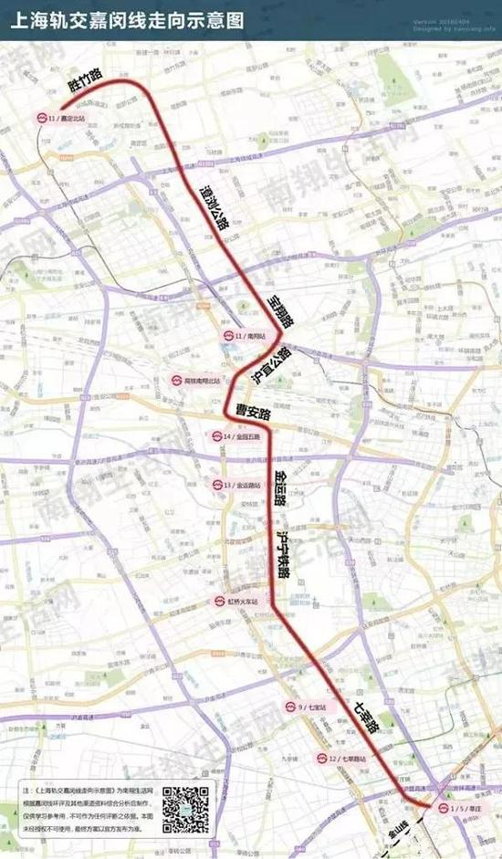 上海地铁嘉闵线相关规划信息公布 正线全长约41公里