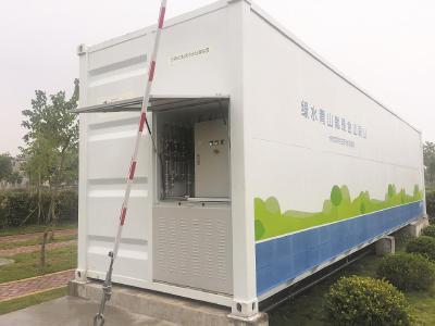 崇明区陈家镇晨光村新建的分布式生活污水处理站外景。