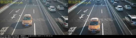 """▲号牌为沪A31***的小型汽车在内环高架外圈近普善路路段,实施了""""驾驶时拨打接听手持电话的""""违法行为。"""