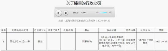 上海一名教师被注销教师资格 因开设赌场罪获刑10个月
