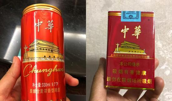 """一款外包装与中华香烟极为相似的""""中华啤酒"""",可能涉嫌构成不正当竞争。本文图片均为 澎湃新闻记者 邹娟 摄"""