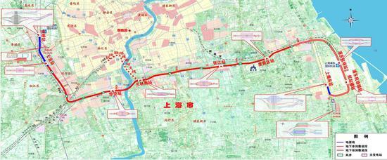 上海市首条市域铁路机场联络线总体方案示意图 久事集团 供图