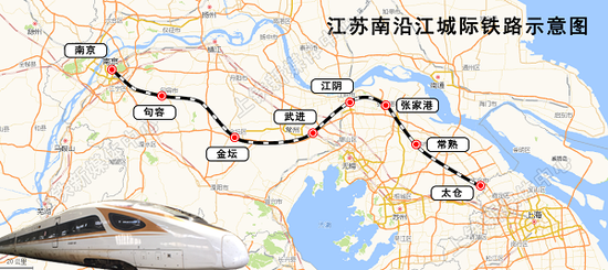 图说:江苏南沿江城际铁路示意图