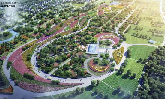 ▲花艺博览园效果图:汇聚六大风格的主题花园空间。