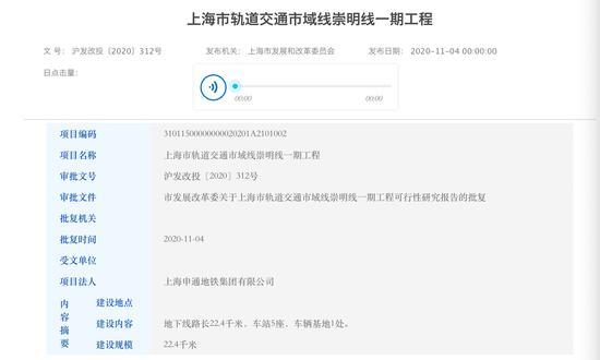 上海市发展和改革委员会批复了《上海市轨道交通市域线崇明线一期工程可行性研究报告》 上海市发改委官网截图