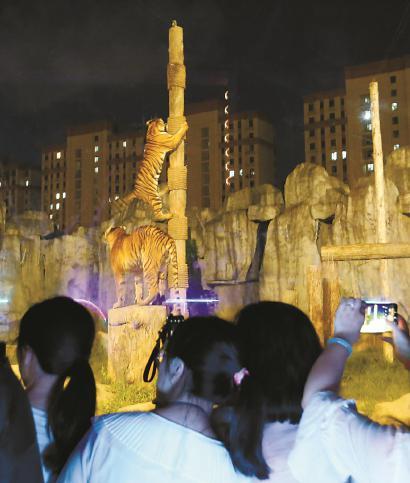 老虎展区吸引游客。本报记者邵剑平 杨可欣 摄