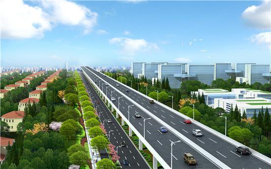 龙东大道道路俯瞰图 上海建工集团供图(下同)
