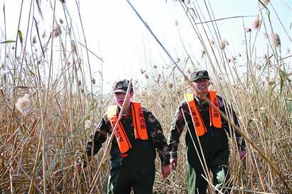 边防官兵徒步在芦苇荡里搜寻,十分消耗体力。  均 刘浩 摄