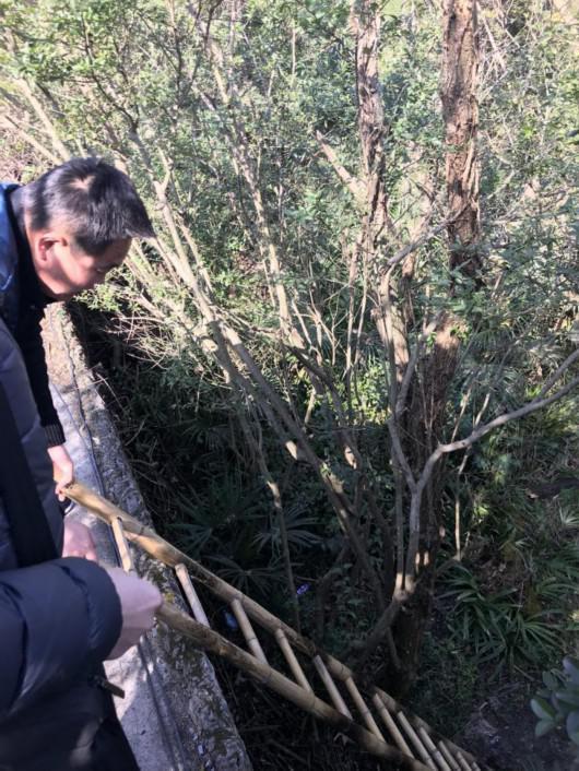 黑袖蓝袄男子正在将梯子换至动物园内侧,以便让记者爬下去。