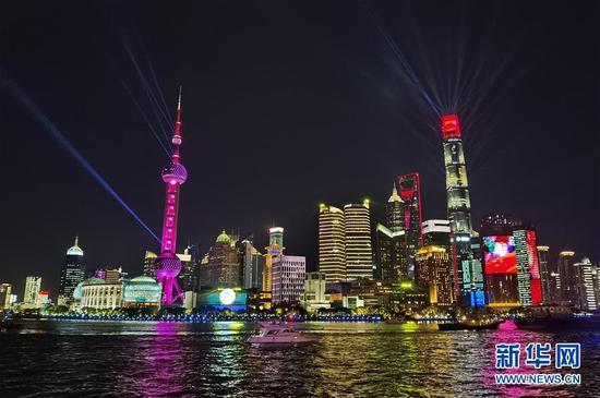 上海陆家嘴夜景(资料图片)。 新华社记者 范培珅 摄