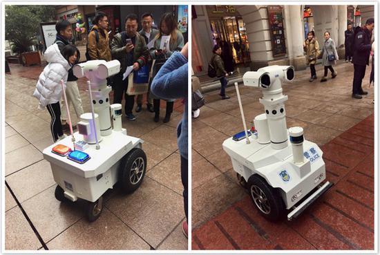 图说:申城警用巡逻机器人。黄轩 摄