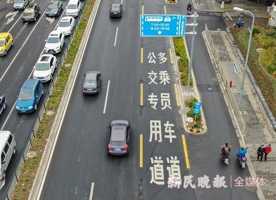 """图说:上海首条""""合乘车道""""今天早高峰启用 新民晚报记者 陈梦泽 摄"""