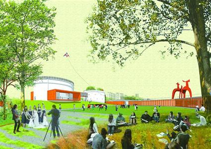 徐汇滨江西岸油罐艺术公园效果图。