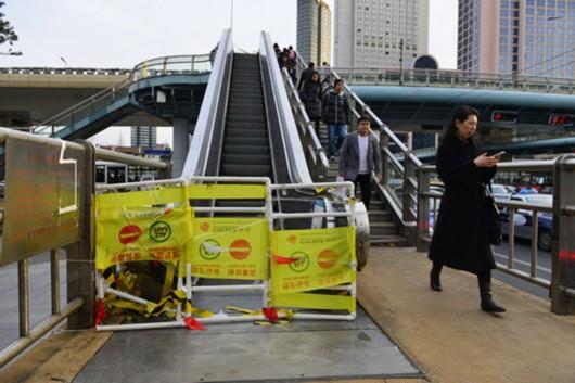 华山路天桥预计年底可开通自动扶梯