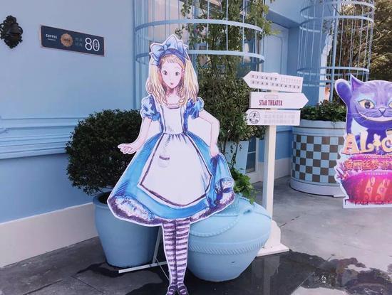 """上咖咖啡的店招,动漫人物""""爱丽丝"""""""