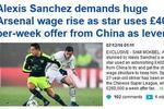 曝中超40万磅周薪报价桑切斯 或拒与阿森纳续约