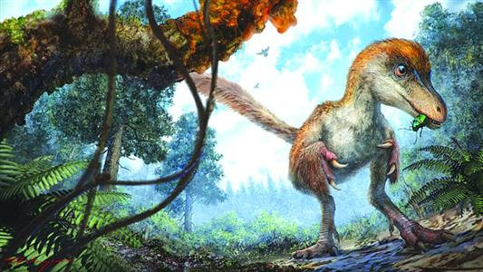 琥珀中的恐龙还原图/自然博物馆供图