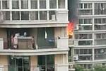 上海康城小区一高层住宅楼起火 可见明火黑烟直窜