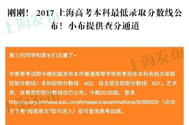 2017年上海高考本科最低录取分数线公布