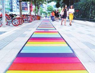 上海北外滩彩虹步道缤纷亮相