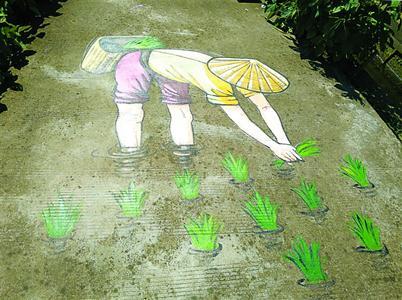 表现农民弯腰插秧的画作。 陈志强 摄