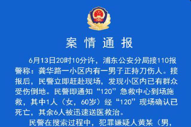 上海一男子持刀伤人 警方:包括犯罪嫌疑人在内3人死亡