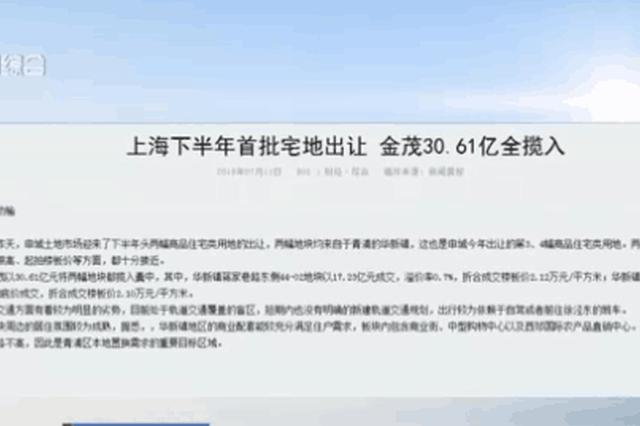 视频:上海下半年首批宅地出让 金茂30.61亿全揽入