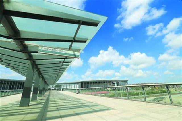 已经建成的国家会展中心二层步廊(一期)。 本报记者 张海峰 摄