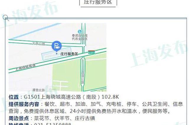 上海高速公路服务区服务指南出炉 位置、周边景点一览