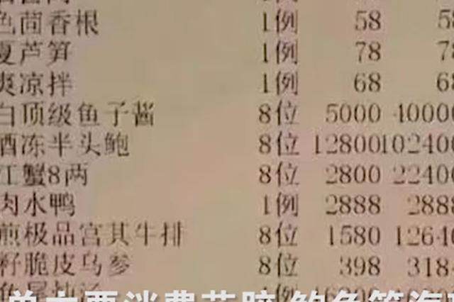 沪现40多万元天价菜单 单价最高鳄鱼尾炖汤每例1.68万元
