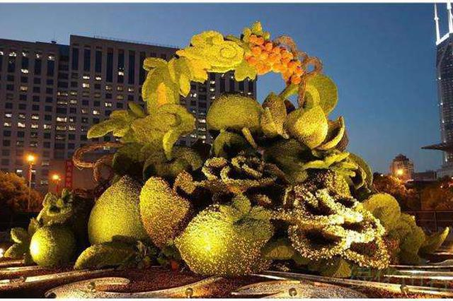 精致花卉景观扮靓十一申城 呈现时和年丰美景