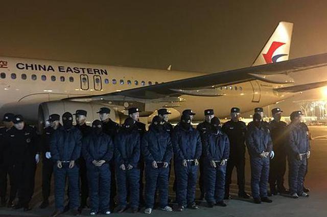 1月30日,犯罪嫌疑人被带下飞机,在停机坪列队。 澎湃新闻记者 朱奕奕 图