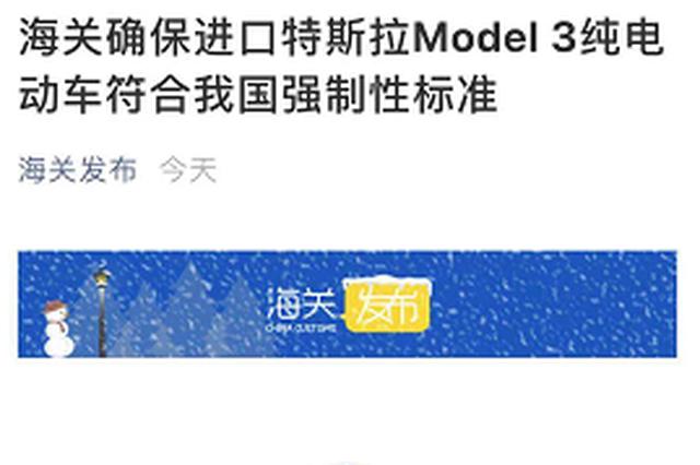 海关总署:特斯拉Model3不符国家强制性标准 正监督整改