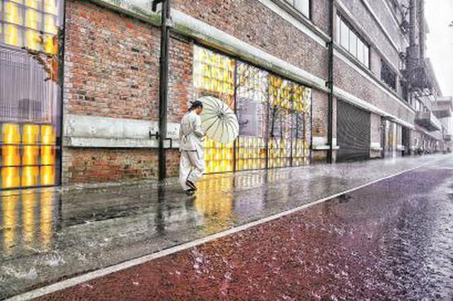 昨天午后,风雨骤来,陆家嘴滨江步道上,市民顶着风雨艰难前行。 本报记者 孟雨涵 摄
