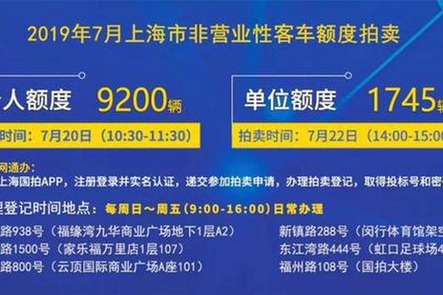 7月份沪牌拍卖下周六举行 个人额度9200辆