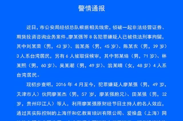 原财经主持人廖某强等8人被拘:非法从事投资咨询