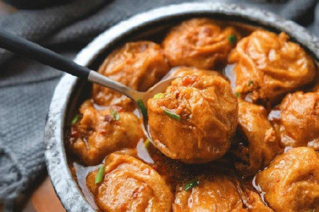 上海老牌菜油面筋塞肉 外壳松脆肉馅喷喷鼻
