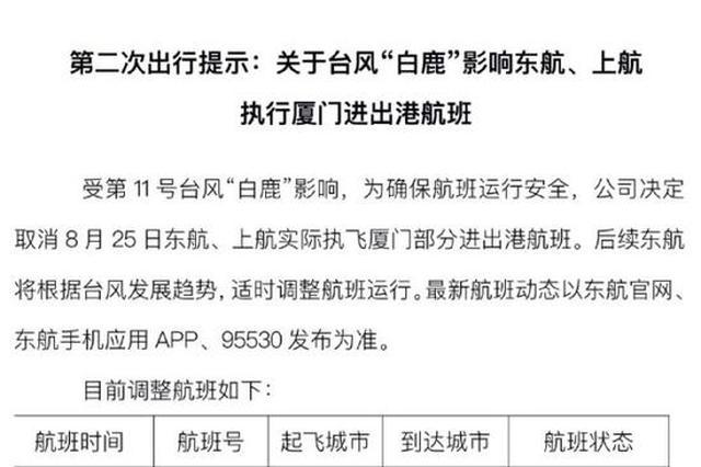上海等地多班飞厦门航班取消 受台风白鹿影响