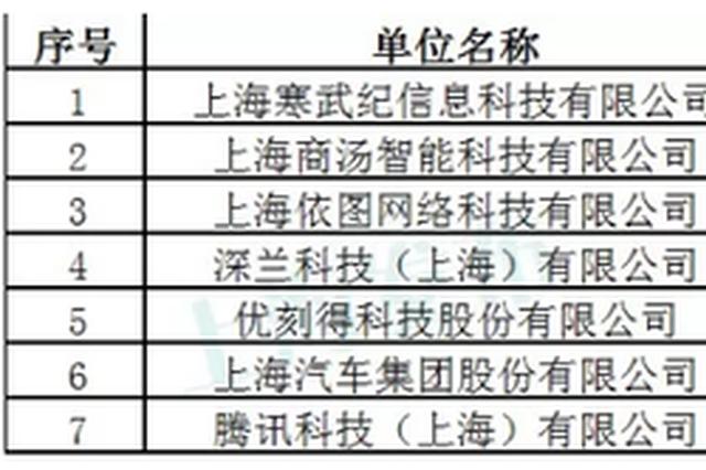 上海首批人工智能创新中心名单公示 7家单位入选