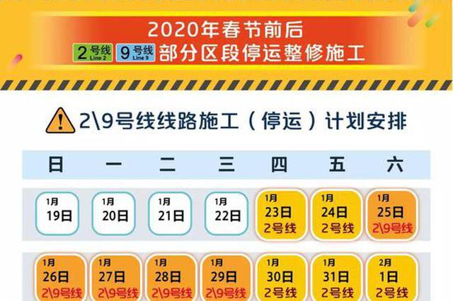 春节前后轨交2、9号线部分区段临时停运整修 出行指南