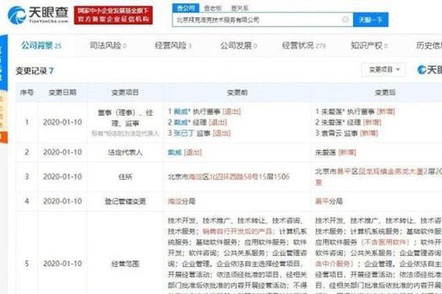 戴威又卸任ofo系公司法定代表人 注册住所迁至昌平