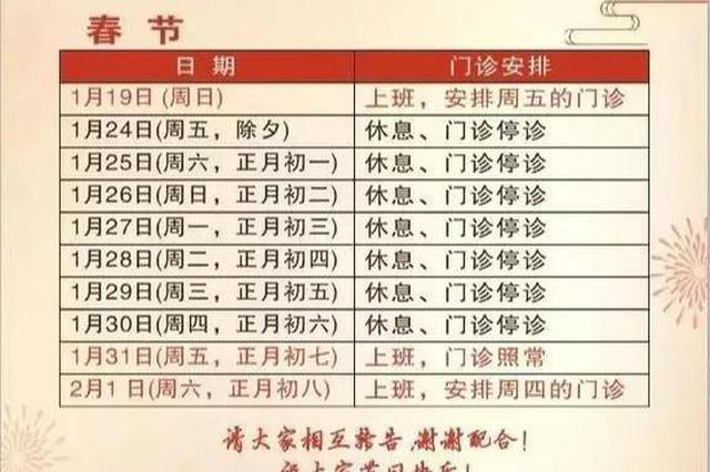 上海三级病院春节假期门急诊安排出炉 具体一览