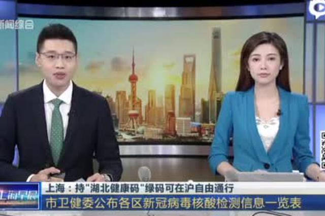 上海:持湖北健康码绿码可在沪自由通行 鼓励进行核检