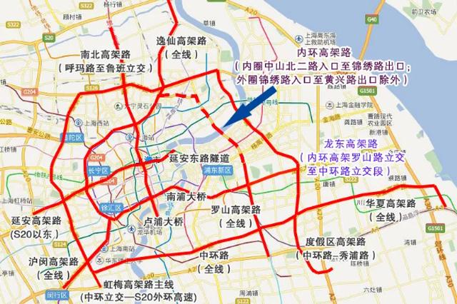 龙东高架通车后 上海最新外牌限行范围图示在此