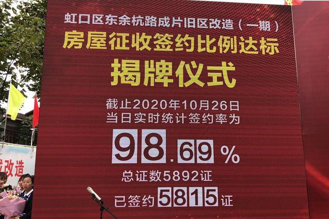十三五以来上海最大旧改项目生效 正式签约率达98.69%