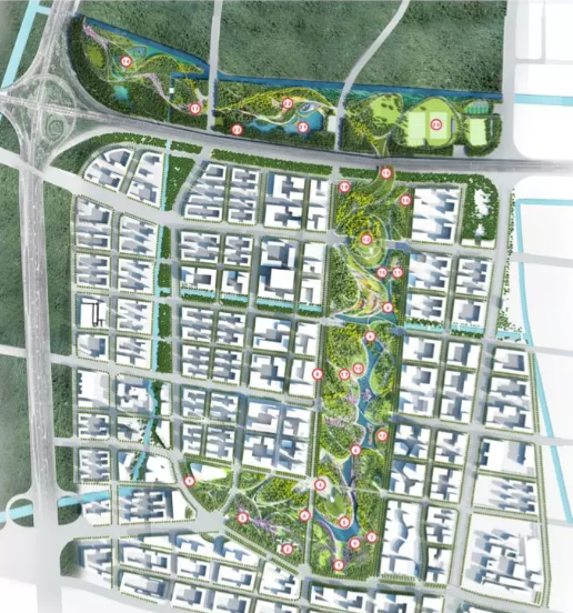 △桃浦中央绿地(北三块)总平面效果图