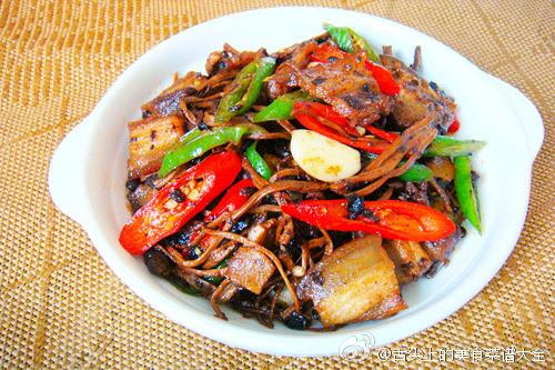 美味又解腻的豉香茶树菇炒回锅肉