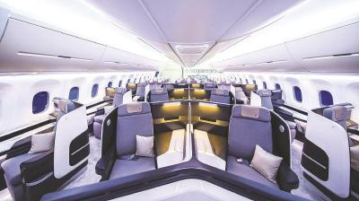 上图:CR929展示样机客舱布局。(中国商飞供图)