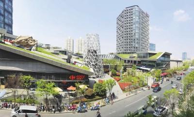 """""""绿地缤纷城""""一站式购物消费中心成为市民餐饮聚会、休闲娱乐的好去处。本报记者赵立荣摄"""