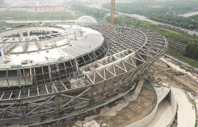 上海天文馆主体建筑的大悬挑结构。新华社记者方喆摄